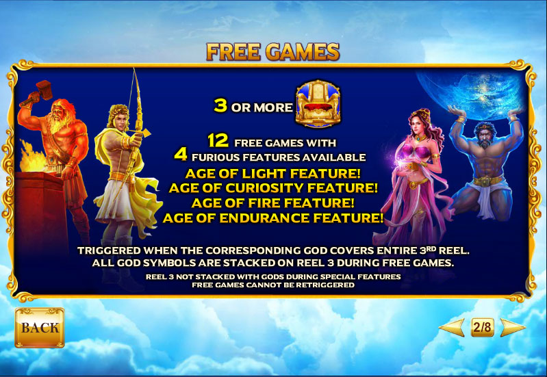 How to Play Age of the Gods Furious 4 Slot Age of the Gods™: Furious 4.5-Reel Line Slots.The objective of Age of the Gods™: Furious 4 is to obtain winning symbol combinations by spinning the reels.TO PLAY THE GAME.Only active paylines can register line wins.Total bet 92%.
