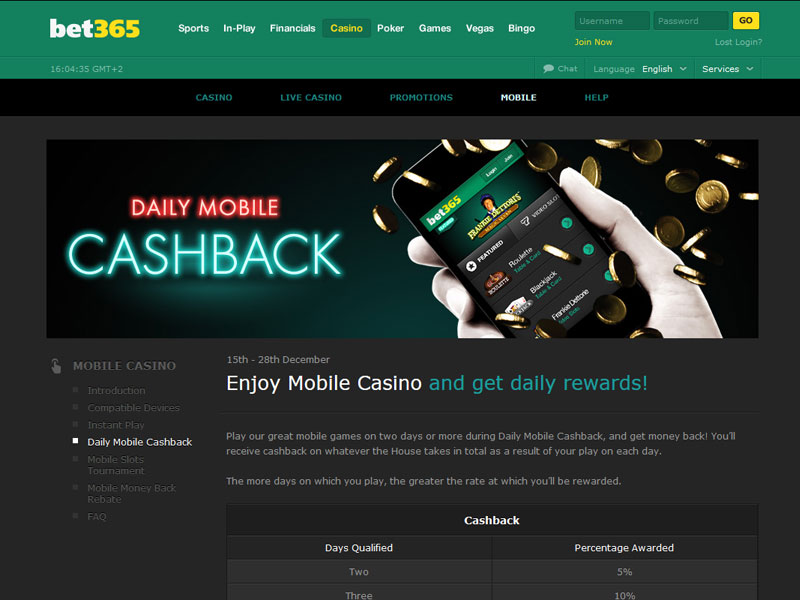 casino bet365 mobile