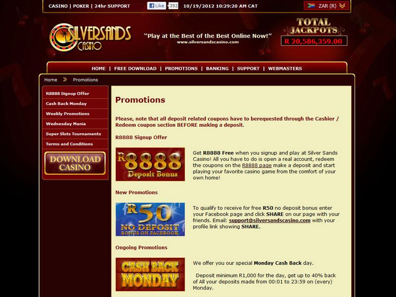 Silversands casino no deposit bonus codes